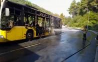 Beykoz'da İETT otobüsü yandı!..